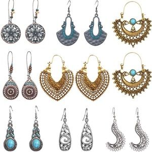 8 Pairs Vintage Statement Dangle Earrings Bohemian